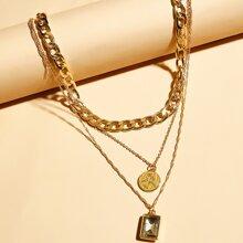 2pcs Figure Decor Charm Chain Necklace