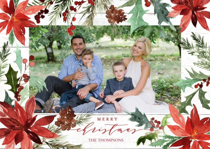 Christmas Photo Cards 5x7 Cards, Premium Cardstock 120lb, Card & Stationery -Christmas Painted Poinsettias by Tumbalina
