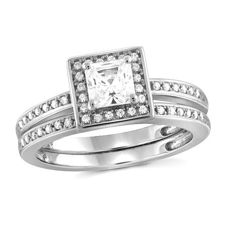 Womens 1 1/2 CT. T.W. White Cubic Zirconia Sterling Silver Engagement Ring, 8 , No Color Family