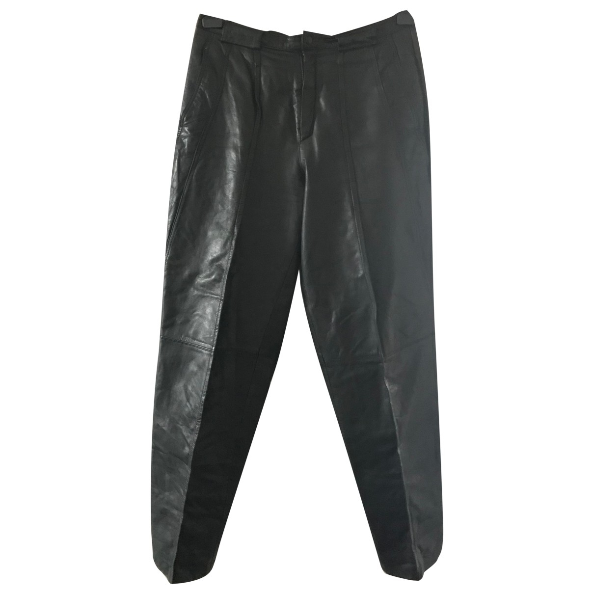 Non Signé / Unsigned N Anthracite Leather Trousers for Women 42 FR