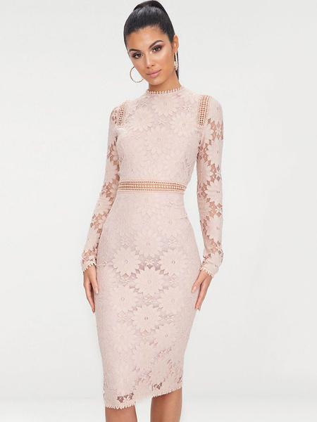 Milanoo Long Sleeve Lace Dress Crewneck Shaping Midi Dress