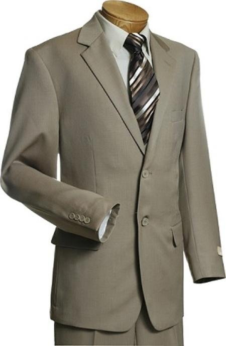 2 Button Taupe Wool Suit Mens