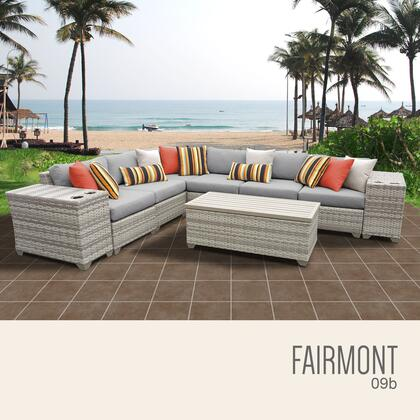 FAIRMONT-09b-GREY Fairmont 9 Piece Outdoor Wicker Patio Furniture Set 09b with 2 Covers: Beige and