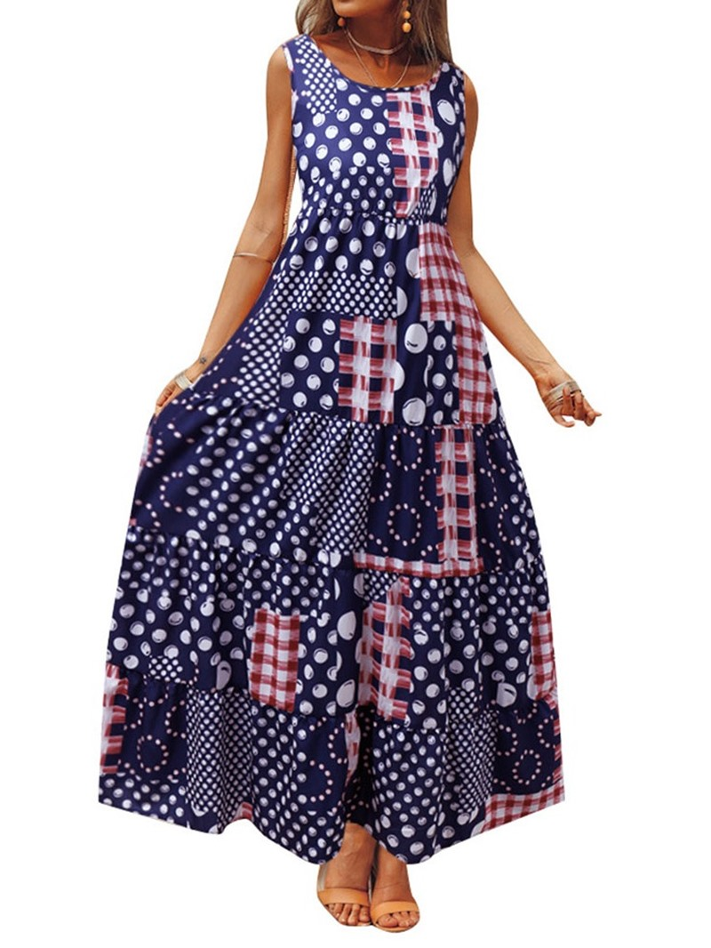 Ericdress Sleeveless Round Neck Print Vintage Plaid Dress