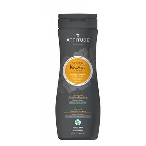 Natural Shampoo & Body Wash 2 in1 Sports Men 15.9 Oz by Attitude
