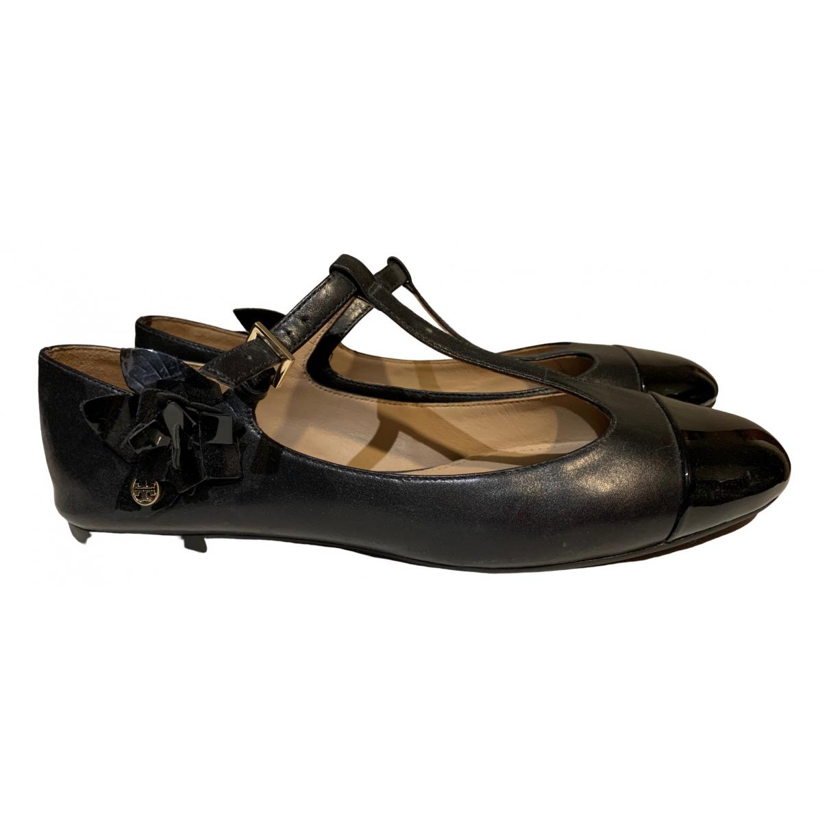 Tory Burch - Ballerines   pour femme en cuir verni - noir
