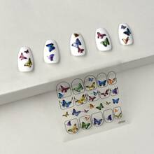 1sheet Butterfly Print Nail Sticker