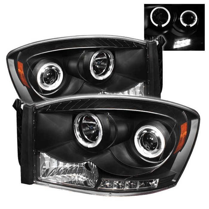 Spyder Halo LED Black Projector HeadLights Dodge Ram 1500 2500 3500 06-08