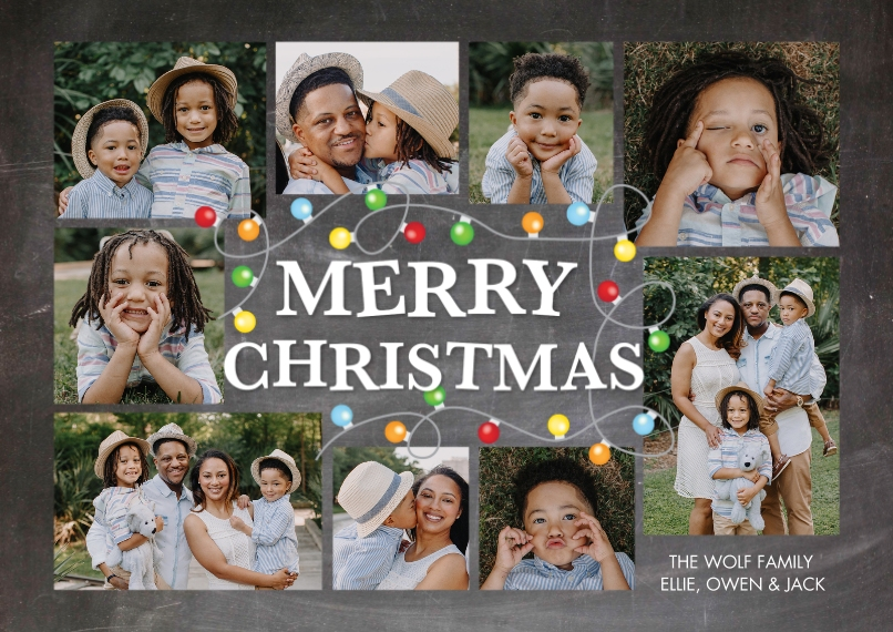 Christmas Photo Cards 5x7 Cards, Premium Cardstock 120lb with Scalloped Corners, Card & Stationery -Christmas String of Lights Frame by Tumbalina
