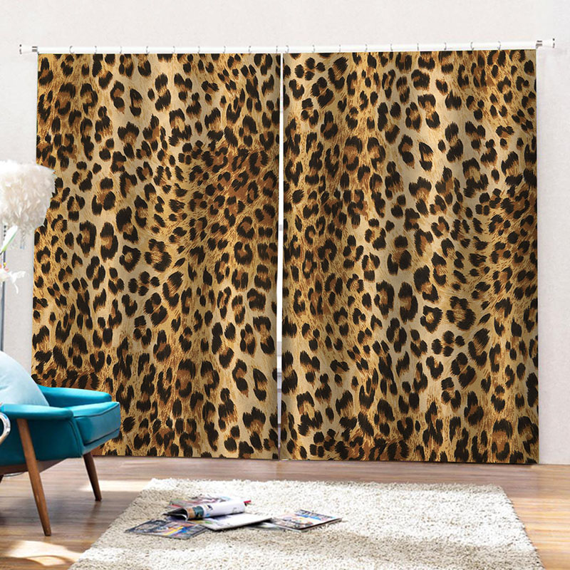 3D Leopard Print  Blackout Curtains 2 Panel Set 80 Inches Wide and 84 Inches Long with Good Shading Effect and Anti-ultraviolet Radiation