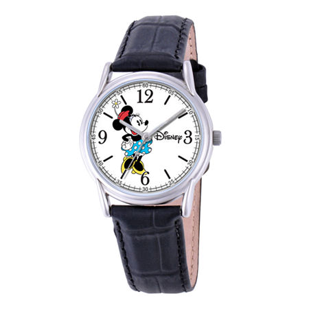 Disney Cardiff Womens Minnie Mouse Black Leather Watch, One Size , No Color Family