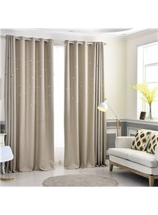 Beige Color Solid High Quality Star Hollowed-out Custom Grommet Top Curtains