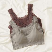 2pack Lace Trim Ribbed Bra Set