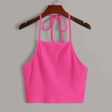 Ribbed Neon Pink Cropped Halter Top