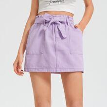 Paperbag Waist Belted Slant Pocket Denim Skirt
