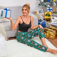Lace Trim Cami Top and Christmas Pants PJ Set