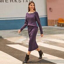 Drop Shoulder Rib-knit Sweater and Pencil Skirt Set