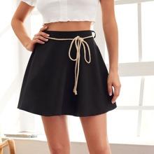 High Waist Solid Skirt With Belt