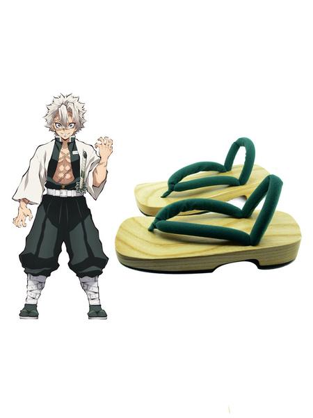 Milanoo Demon Slayer: Kimetsu No Yaiba Shinazugawa Sanemi Clogs And Socks Anime Cosplay Shoes