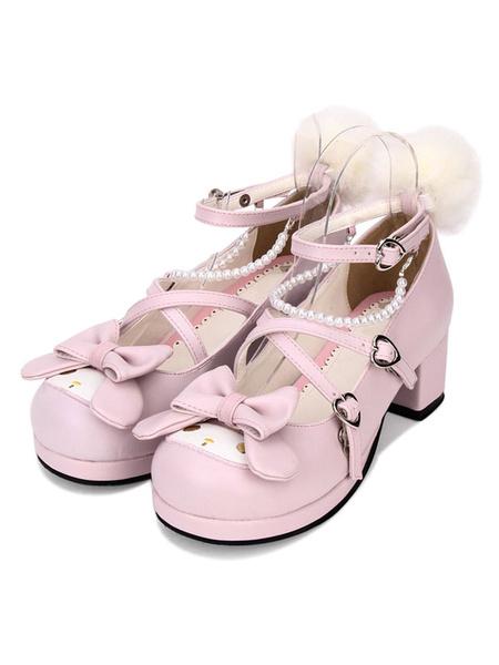 Milanoo Sweet Lolita Pump Animal Design Pom Pom Bow Strappy Pearl PU Pink Lolita Zapatos