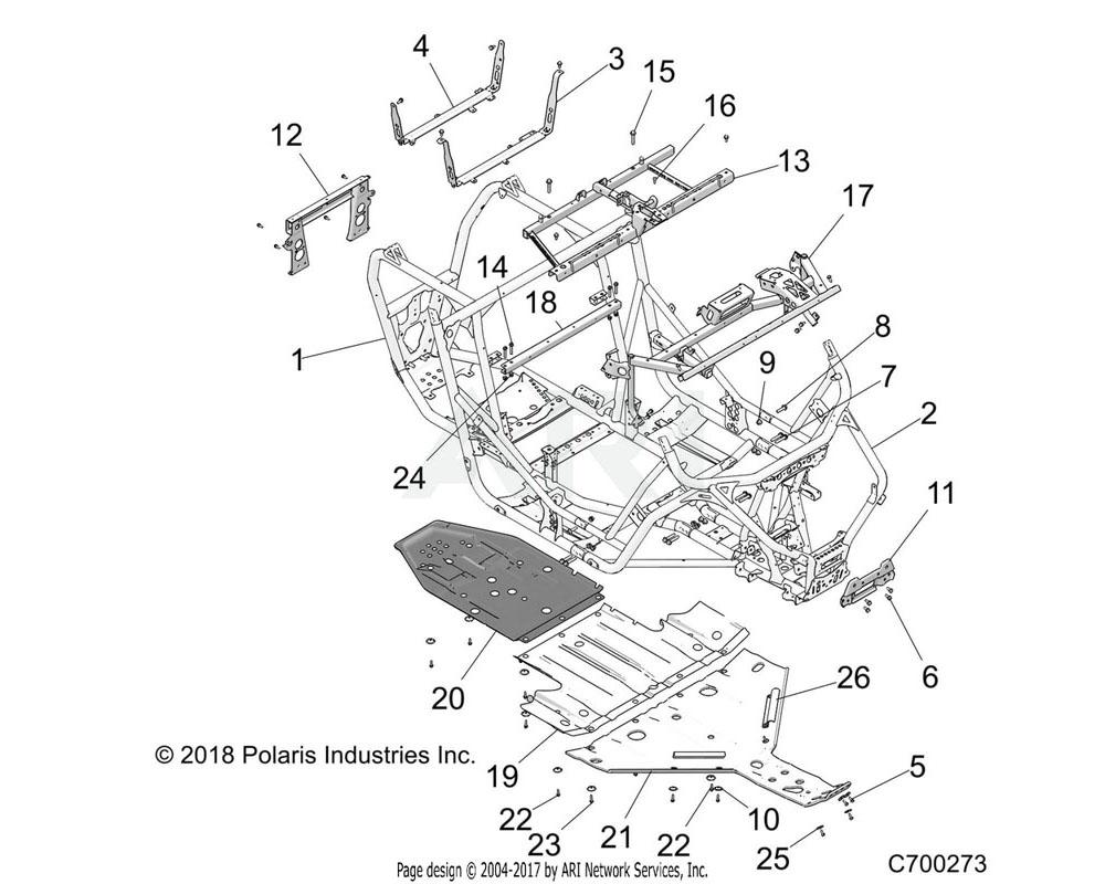 Polaris OEM 5260402-329 BRKT-SKIDPLATE MOUNT, BLK