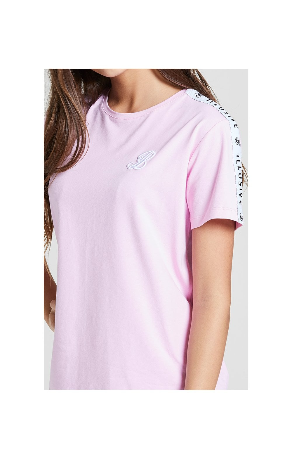 Illusive London BF Fit Taped Tee -  Pink  Kids Top Sizes: 15 YRS