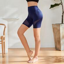Sports Leggings mit Netzstoff Einsatz und breitem Taillenband