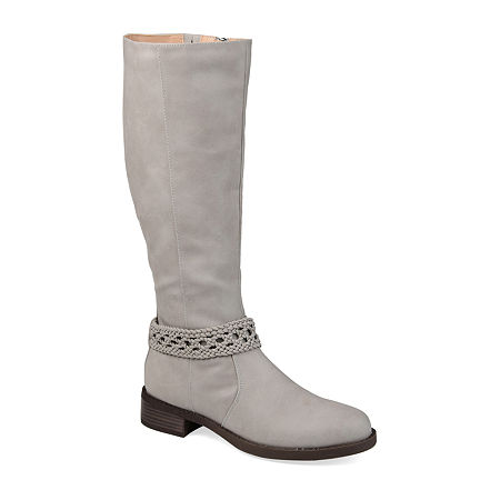Journee Collection Womens Paisley Stacked Heel Riding Boots, 7 Medium, Gray