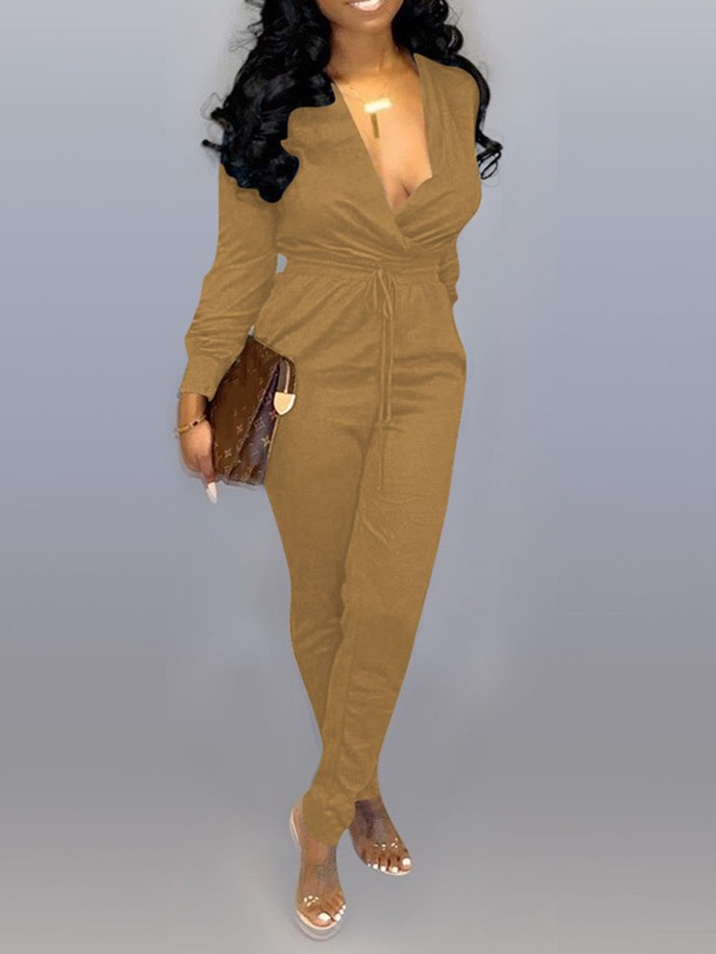 Ericdress Full Length Lace-up Plain Sexy Slim Jumpsuit