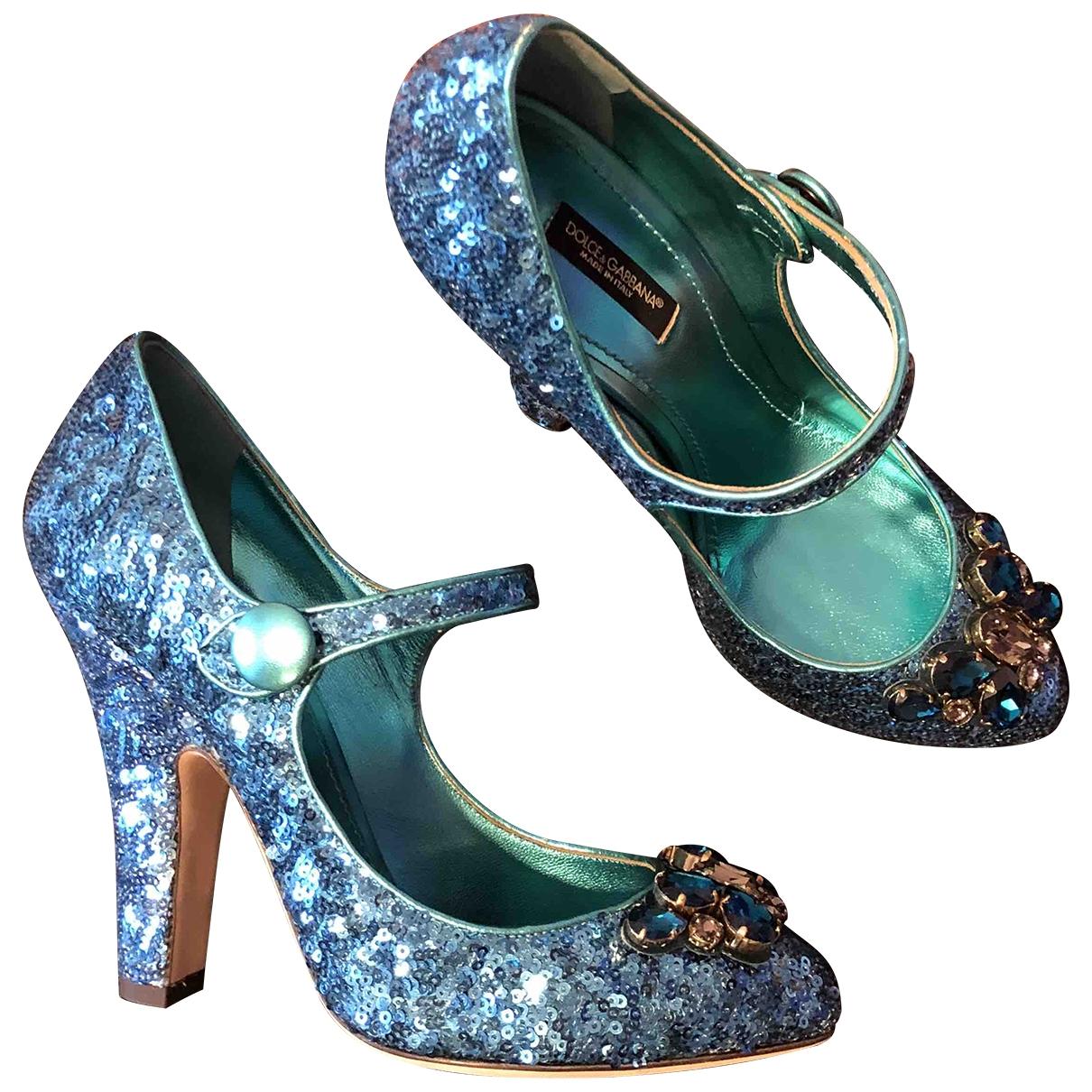 Dolce & Gabbana - Escarpins   pour femme en a paillettes - bleu