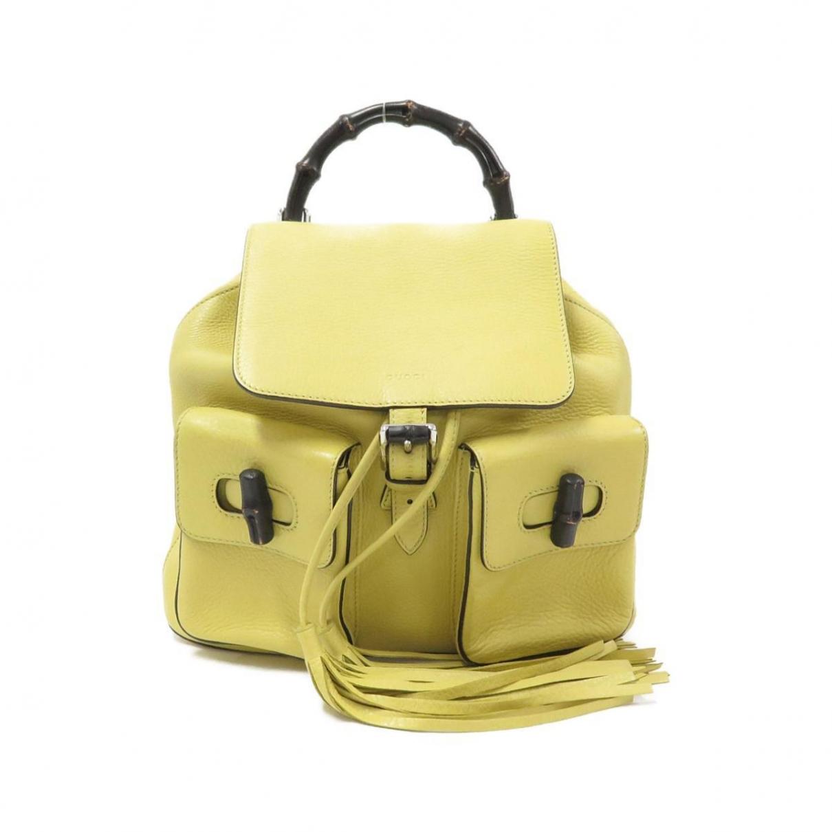 Gucci - Sac a dos Bamboo pour femme en cuir - jaune