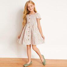 Girls Square Neck Shirred Detail Ditsy Floral Flare Dress