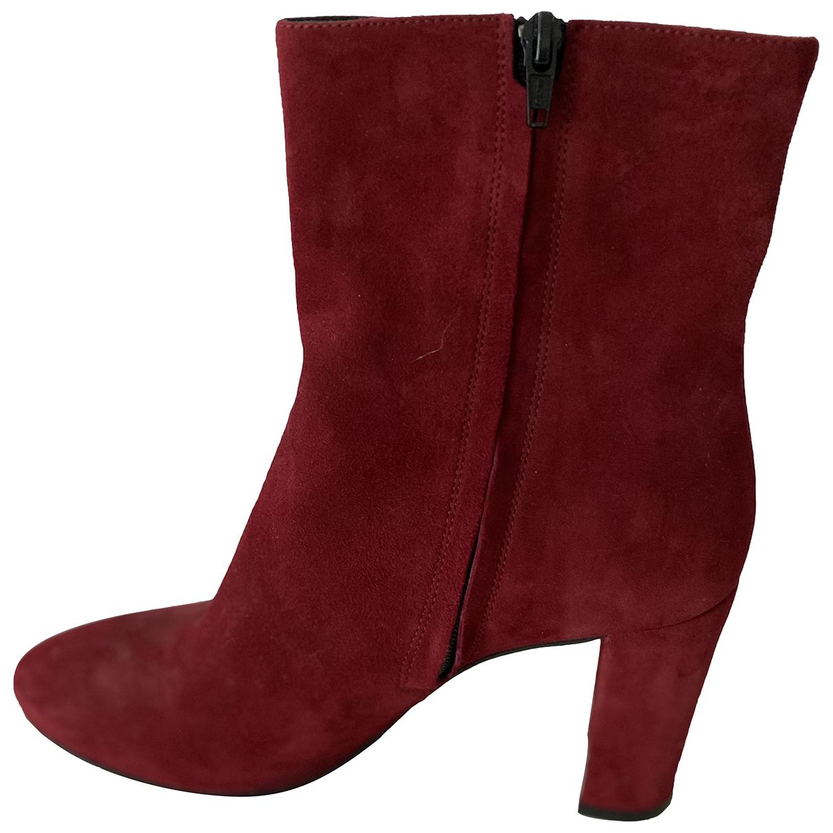 Jonak - Boots   pour femme en suede - bordeaux