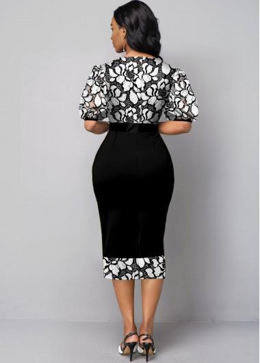 Black Dresses Puff Sleeve Round Neck Lace Panel Dress - XL
