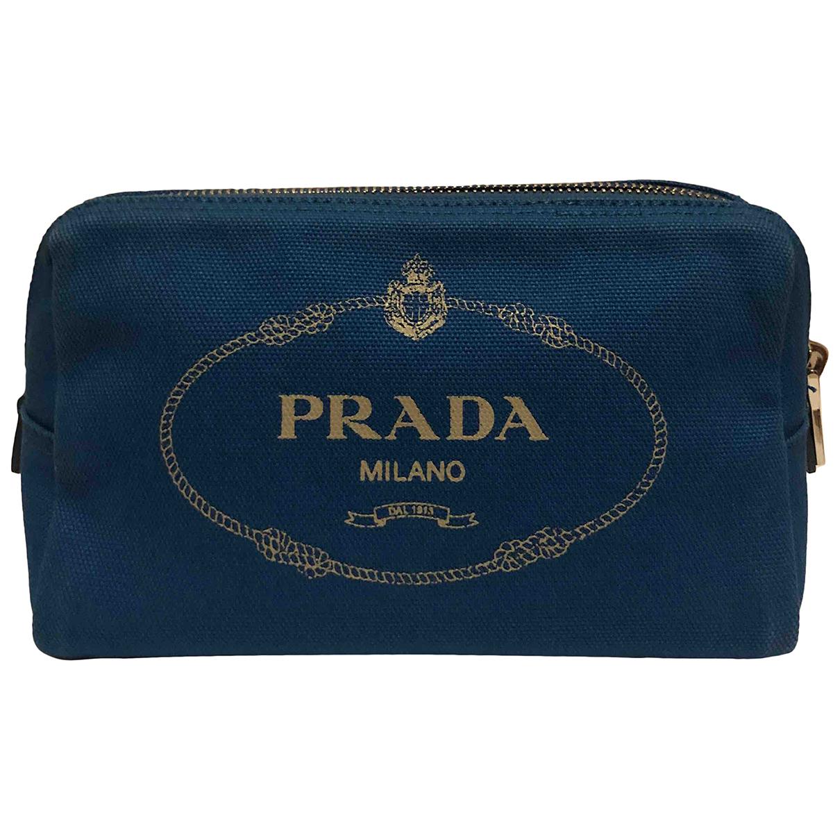 Prada - Petite maroquinerie   pour femme en coton - turquoise