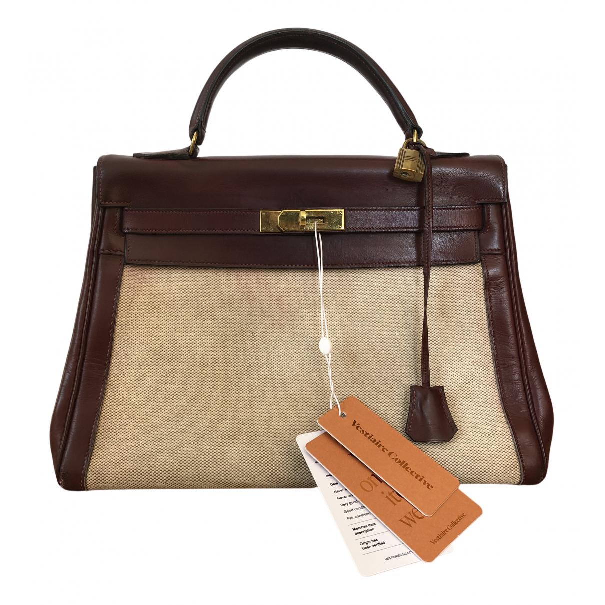 Hermès Kelly 32 Beige Cloth handbag for Women \N
