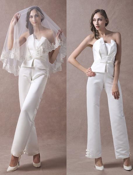 Milanoo Wedding Jumpsuits Ivory Strapless Peplum Satin Bow Sash Long Bridal Jumpsuits