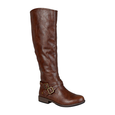 Journee Collection Womens April Wide Calf Riding Boots, 7 1/2 Medium, Brown
