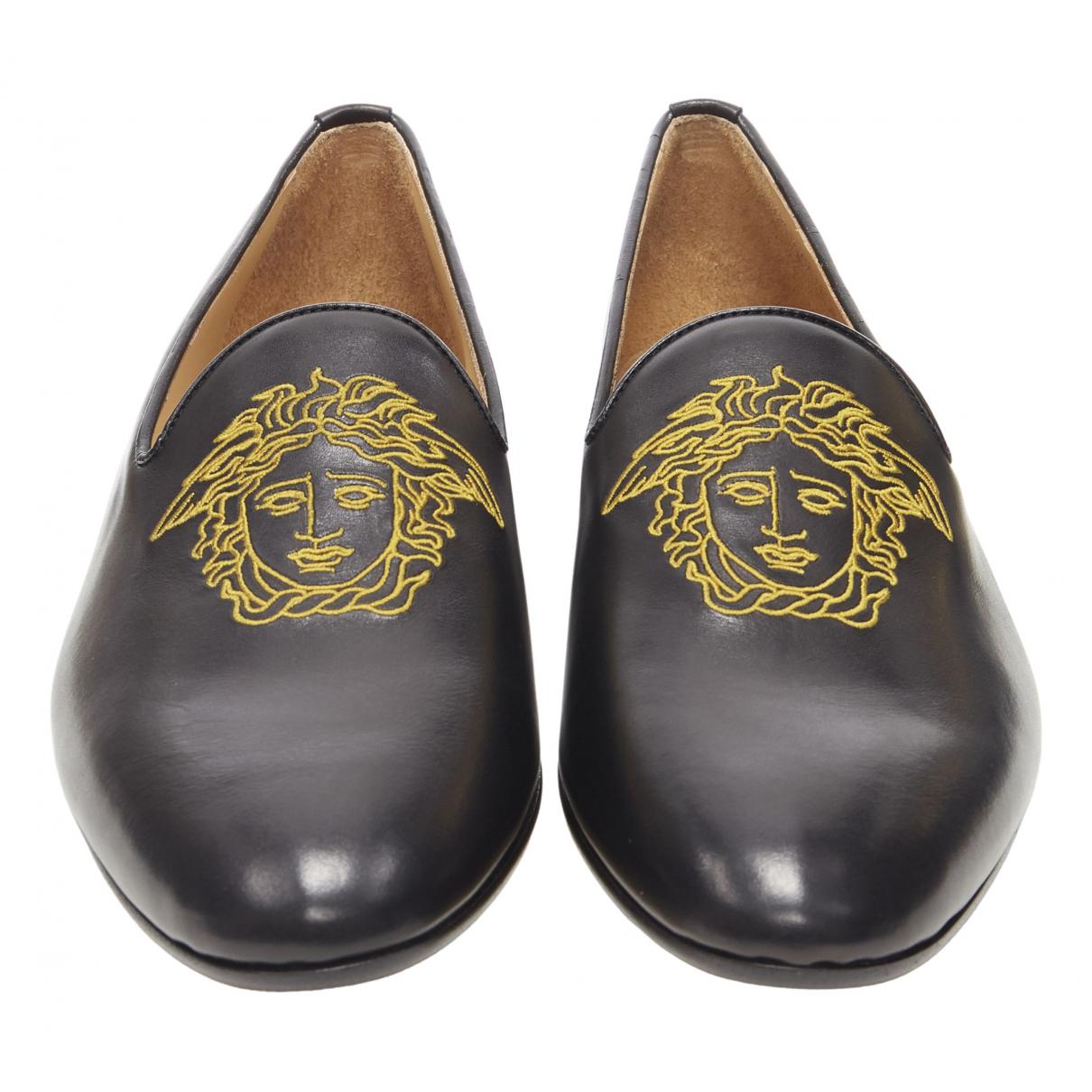 Versace - Mocassins   pour homme en cuir - noir
