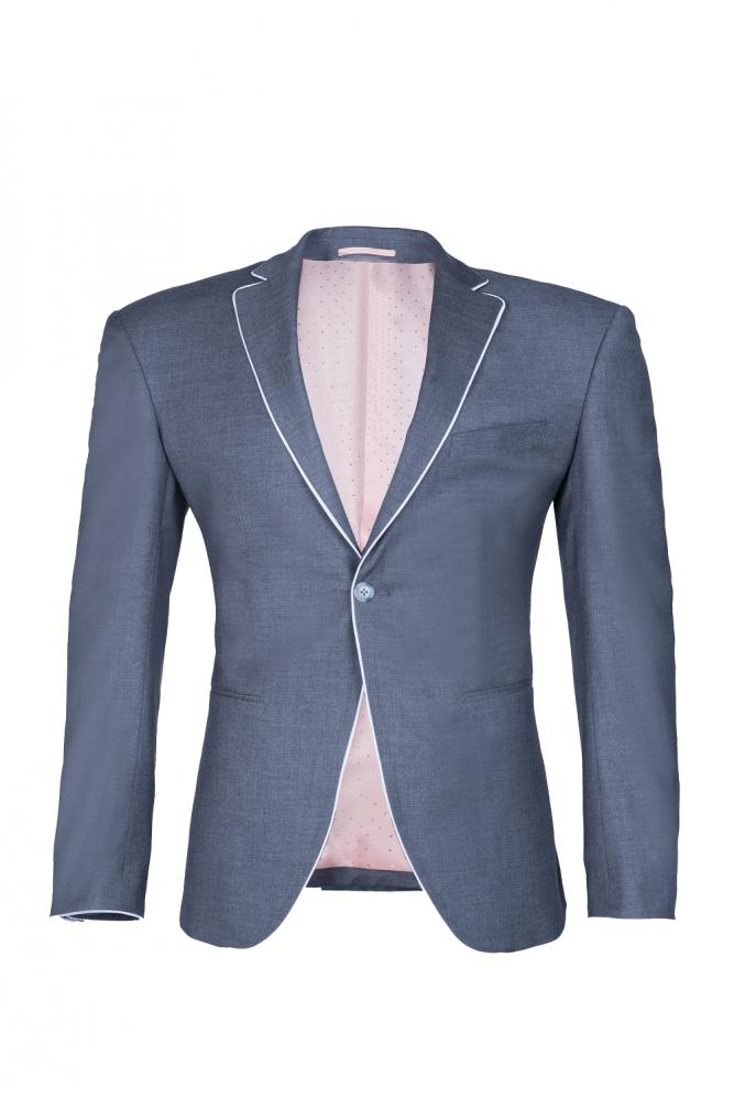 Traje de boda de solapa de pico unico de plata para hombres Back Vent Fashion