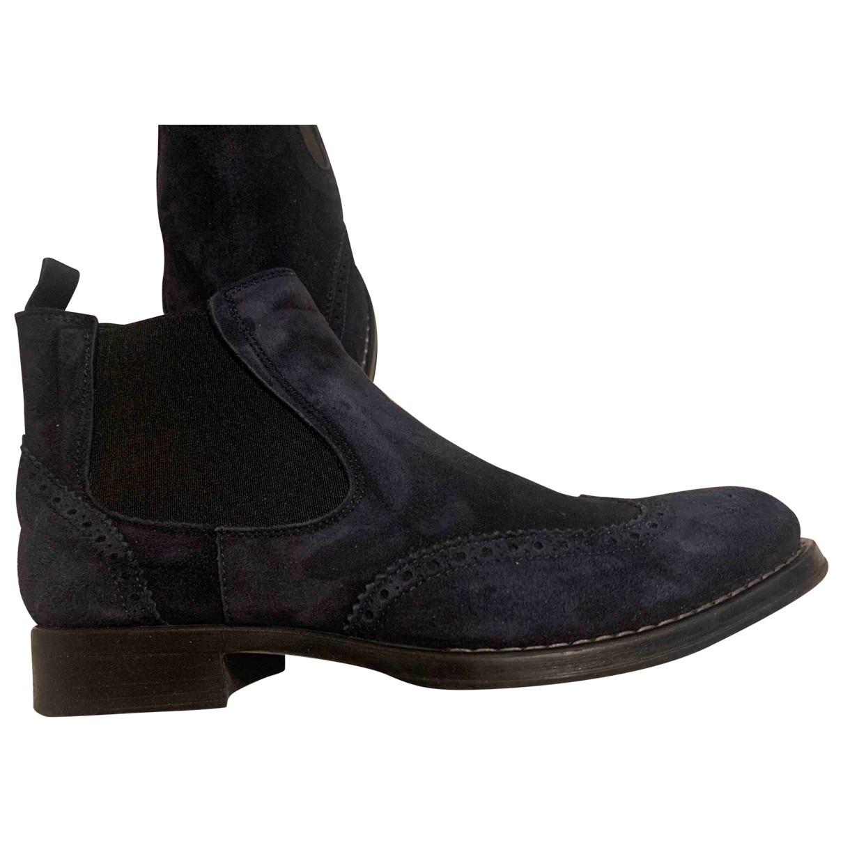 - Boots   pour femme en suede - bleu