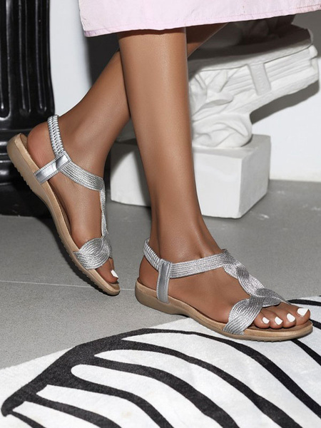 Milanoo Flat Sandals For Women Flat Polyester Casual T-Strap Women\'s Flat Sandals