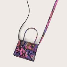 Mini Top Handle Snakeskin Satchel Bag