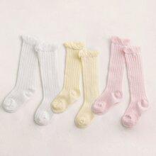 Calcetines de bebe unicolor simple 3 pares