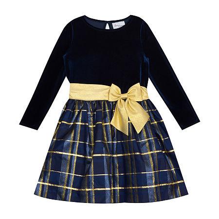 Sweet Charmers Little & Big Girls Long Sleeve Midi Party Dress, 14 , Blue