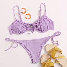 Bikini Badeanzug mit Knoten vorn, Buegel und seitlichem Band