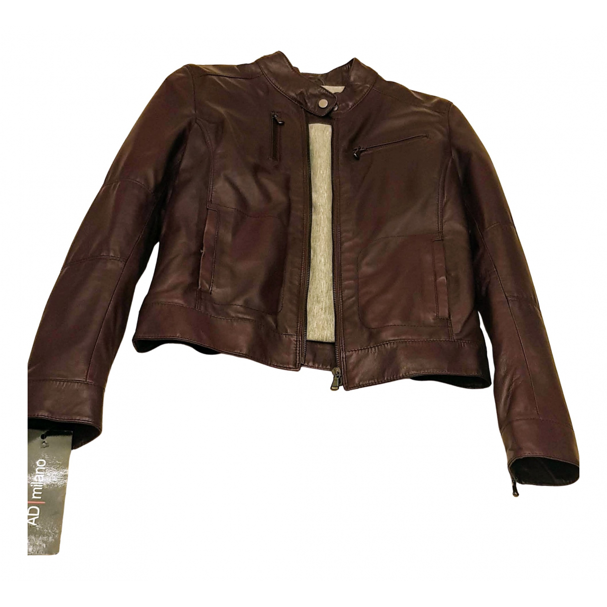 Non Signé / Unsigned \N Burgundy Leather Leather jacket for Women 8 UK