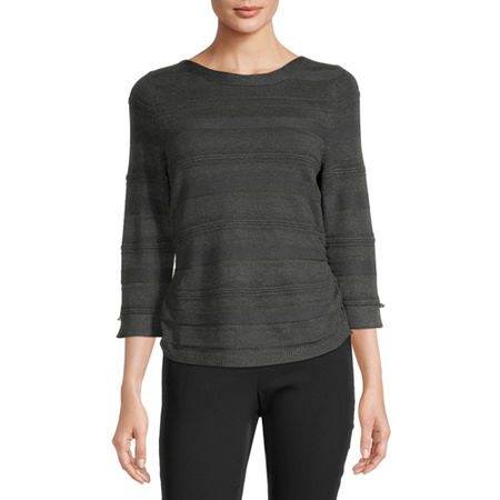 Liz Claiborne Womens Boat Neck 3/4 Sleeve Pullover Sweater, X-small , Gray