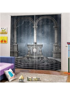 3D Mysterious Pillars Print Blackout and Decorative Curtains for Living Room Bedroom