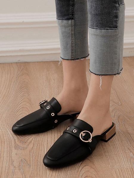 Milanoo Zuecos de mujer Zuecos Zapatos sin cordones de punta redonda de cuero negro de PU